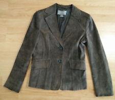 Ann Taylor Womans Blazer 6 2 Button Suede Leather Jacket Sport Coat Brown