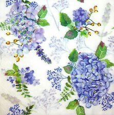 3 x Single Paper Tissues For Decoupage Napkins White Blue Hydrangea Flowers M064