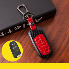 Red Leather Button Paint Plastic Smart  Key Cover Fob for Dodge Chrysler Jeep