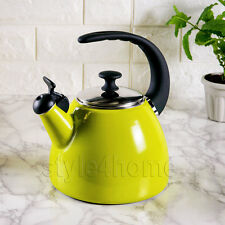 ENAMEL Carbon Steel WHISTLING Kettle Electric Gas HOBS Fresh Fusion GREEN