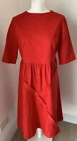 Stunning Red LINDY BOP 'Arlene' Day Dress Knee Length Button vintage Size UK 16