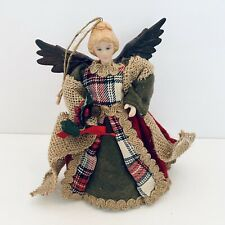 "Christmas Angel Tree Topper/ Ornament 7"" Ceramic Doll Winter Dress Tartan Red"