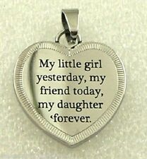 "Daughter Friend Forever Necklace Stainless Steel ""My Little Girl"" Heart Silver"