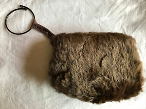Vintage 1930s Child's Small Girl's Real Brown Rabbit Fur Muff