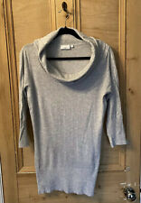 NEW LOOK JUMPER DRESS top SWEATER polo Neck GREY knitted Knit Size 14 SLEEVES