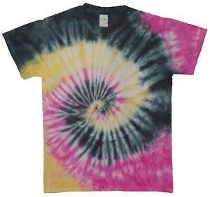Black, Pink & Yellow Spiral TIE DYE T-SHIRT Hand Dyed Relaxed Fit 100% Cotton