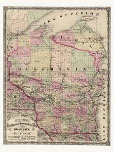 Old Railway Decorative Map of Wisconsin Cram ca. 1875