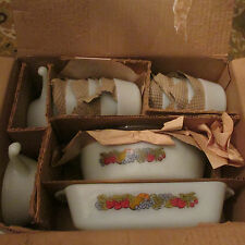 Vintage Anchor Hocking Coronet 26 Piece Ovenware Set Fruit Pattern mint in box