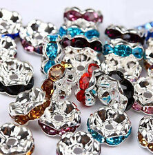 50pcs Silver Plated Czech Crystal Spacer Rondelle Beads Charm Findings 8mm