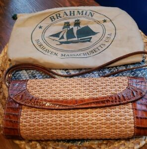 Brahmin Vintage Natural Woven Straw Brown Embossed Leather Clutch Bag US Dustbag