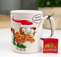 VTG GARFIELD Happy Holidays 3D Coffee Cup Mug With Tag Jim Davis - ENESCO