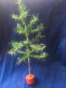 Vintage Retro  Kitsch 40s 50s Skinny Tinsel Wire Christmas Tree Table Top Size