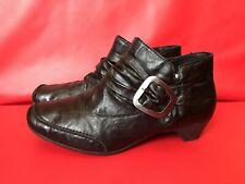 Rieker Square Toe Ankle Boots size UK 6 - EU 39 Womens Black Leather