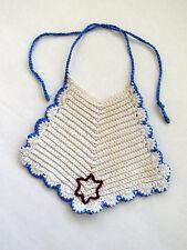 Vintage Hand Crochet Baby Bib White Blue Trim Star Christening Baptism Drool Bib