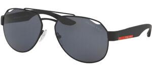 Prada Linea Rossa Polarized Black Rubber Pilot Sunglasses - PS57US DG05Z1 Italy