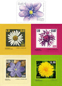 Stamp SET of ESTONIA 2004 2006 2007 2019 2021 - Flowers (6 Self-adhesive stamps)