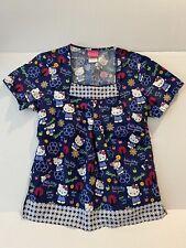 New listing Hello Kitty Sanrio Recycle Theme Ladies Medium Medical Scrub Top Dark Blue Med