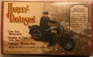 Numbered Reproduction Cast Iron Harley Davidson Motorcycle With Removable Rider
