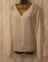 Maison Scotch Broderie Anglaise V Neck Casual Office Blouse Shirt Tops  4 14 42