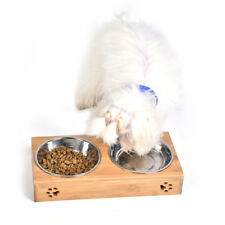Elevated Dog and Cat Bamboo Pet Feeder Stainless Steel Double Bowl Raised Stand