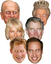 6 Pack Ladies Mens Royal Family British Brit Fancy Dress Costume Accessory Masks