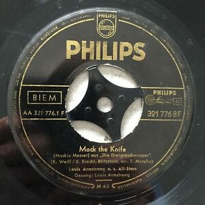 LOUIS ARMSTRONG: Mack the Knife / Back O'Town Blues (DE Single Philips 321 776)