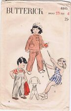 1950s Butterick 4845 Childrens Overalls 4 Double Breasted Jacket Bib Shorts Cut