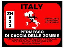 Italy Zombie Hunting Permit (Bumper Sticker)
