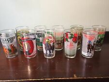 Complete Decade Set, Lot of TEN Kentucky Derby Glasses - 1980 - 1989,  Excellent