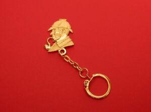 Sherlock Holmes Gold Plated Pewter Keyring Performing Arts  English Literary