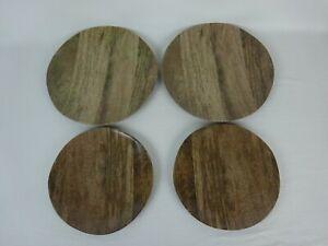 (4) Wood Look Melamine Plates ~ 2 Salad Plates & 2 Dinner Plates ~