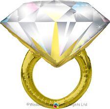 "37"" Giant Gold Diamond Ring Foil Helium Balloon Wedding Engagement Party Decor"