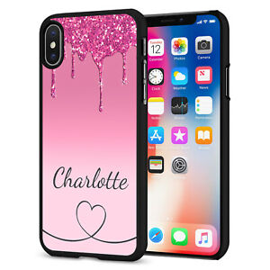 PERSONALISED NAME Glitter HEART Phone Hard Case Cover For iPhone 12 164-7 Black