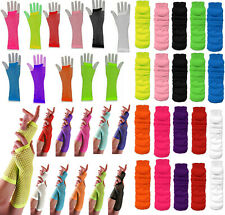 New Womens Girl Long Fishnet Gloves Finger less Gloves Neon Party Fishnet Gloves