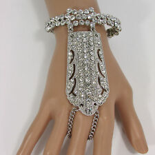 Women Silver Metal Hand Chain Fashion Bracelet Slave Wide Finger Ring Rhinestone