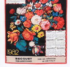 Torchon calendrier vintage 1982