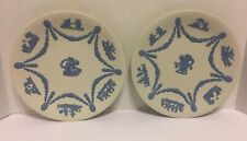 "Sale! Wedgwood Pair Rare 9"" Reverse Blue& White Cake Plate w/ Cupid & 6 Scenes"