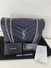 YSL Yves Saint Laurent Loulou Medium Leder blau silber neu