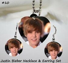 JUSTIN BIEBER Photo Heart Charm Necklace w/Bead Chain & Round Earrings Set#10