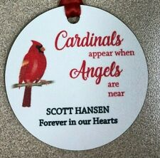 """Cardinals Appear When Angels Are Near 2.75"""" Personalized Ornament"""
