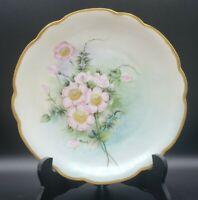 """M.Z. AUSTRIA Hand Painted 8.5"""" Antique Porcelain Plate Pink Roses & Gold Trim"""