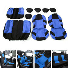 9pcs Full Breathable Universal Car Seat Covers Comfortable Wear Washable Blue