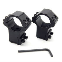 """2Pcs 1"""" High Profile Rifle Scope Rings Mount Fits 3/8"""" - 11mm Dovetail Rails"""