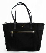 ** MICHAEL KORS KELSEY Black Nylon & Leather LG Tote Shoulder Bag Msrp $128.00