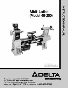 Delta 46-250 Midi-Lathe Instruction Manual FREE SHPPING