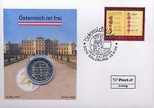 """Österreich 2 Euro Numisbrief 2005 """"50 Jahre Staatsvertrag"""" - Ersttag Salzburg"""