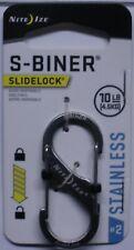 Nite Ize S-Biner Slidelock Carabiner Key Chain # 2 Black Steel LSB2-01-R3 NEW