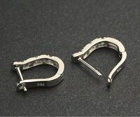 charming 1Pair Silver White crystal Women's Hoop Earrings