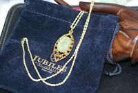 """Victorian 12.86 ctw oval cab Beryl Pendant 10K Solid Gold Women's Necklace 18"""""""