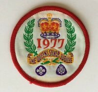Vintage Scout woven cloth patch badge 1977 Queen's Silver Jubilee Scouting